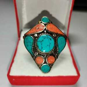 Turquoise Stone Handmade Sterling Silver Antique Minimalist Ring For Men&Women