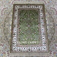 YILONG 2'x3' Green Handmade Silk Rug Home Decor Floral All-Over Carpet HF141B