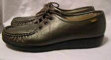 SAS womens size 8N 8 narrow Lace up metallic gray Comfort leather Shoes