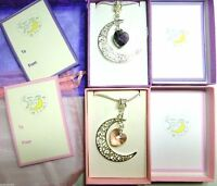 I Love you to the Moon and Back Heart on Moon Charm Necklace Gift in Box
