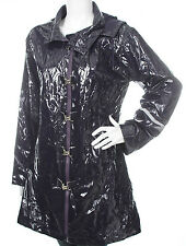 SOS JENSEN Womens Raincoat Trench Waterproof Jacket Hooded L PVC Woven Coated PU