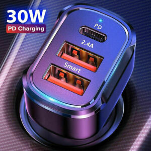 Dual USB PD Type-C Car Charger 30W Fast Adapter For iPhone 13 12 11 Pro Max