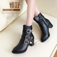 Womens Ladies Zip Buckle Strap Block Mid Heel Ankle Boots Shoes UK Size 1-12 B29