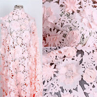 """3D Pink Guipure Lace Fabric Bridal Lace Fabric Wedding Flora Lace Fabric 47""""Wide"""