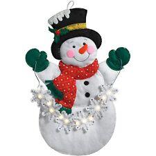 "Bucilla Snowflake Snowman Wall Hanging (LED) 16"" X 23"" Felt Applique Kit, 86820"