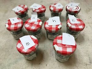 MINI JAM JAR OF YOUR CHOICE OF LETTER IN MIXED FONTS APP. 140g LETTERPRESS TYPE