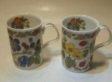 Lot of 2 Roy Kirkham Bone China Botanical Flowers Mug 1996 Made In England