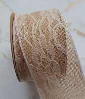 Rustic Antique Lace White Edge Hessian Ribbon 1yd x 50mm/5 cm Wedding Card Craft