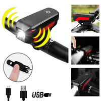 Bicycle Headlight With Horn Bell Bike MTB USB Rechargerable LED Light Waterproof