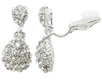 Drop CLIP ON Earrings Silver Plated Crystal Drop Dangle Womens Girls CZ Gatsby