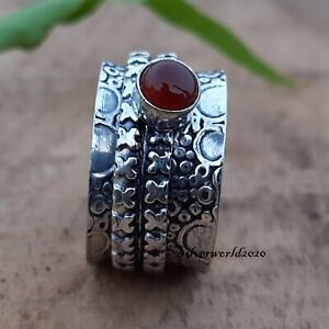Carnelian Spinner Ring 925 Sterling Silver Plated Handmade Ring Size 7 zz608