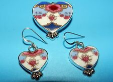 INCREDIBLE JACQUELYN SMILEY JSVR 950 STERLING SILVER SIGNED PENDANT/PIN EARRINGS