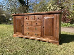 Oak 4 Drawer Sideboard Country House Hallway Storage Cupboard Drinks Office