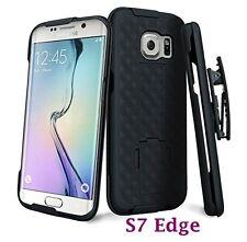 For Samsung Galaxy S7 Edge - Black Holster Swivel Belt Clip Hard Slim Case Cover