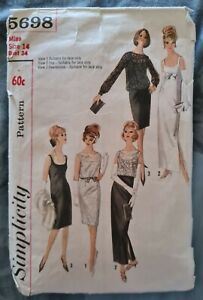 1960s Pencil Dress Crop Top Formal Maxi Midi Simplicity 5698 Sewing Pattern