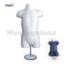"White Mannequin Toddler Torso w/Metal Stand 19""~38"" & Hooks For Hanging"