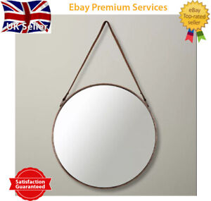 Rose Gold Round Mirror Industrial Style Leather Strap Copper Hanging Mirror 40cm