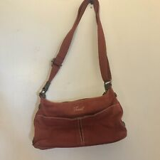 Small Red Cloth Preowned Shoulder Bag Paisley Inside Fossil