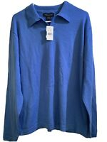 Banana Republic Men Large Extra Fine Merino Wool V-Neck Sweater Blue
