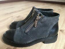 authentic CHANEL grey suede/black leather double zipper shoes size EU 37