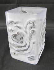 Vintage 1970s Lindshammar Abstract Opaque Clear Crystal Glass Vase Label Sweden