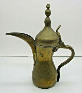 Antique Polished Brass Dallah Syrian Teapot Ewer Arabic Mark