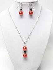 "Reddish Orange Glass Pearl Pendant w/Rhinestone Necklace/Earrings Set (18"")"