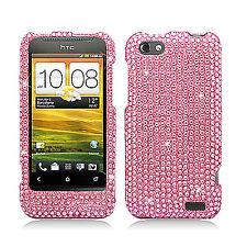 For Virgin Mobile HTC One V Crystal Diamond BLING Hard Case Phone Cover Pink