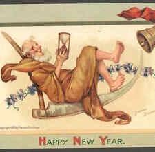 BRUNDAGE.. FATHER TIME TAKES IT EASY ON SCYTHE,NEW YEAR HOURGLASS,OLD POSTCARD