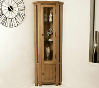 Solid Oak Corner Display Cabinet Glazed Cupboard Home Rustic Furniture