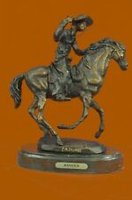 Cowboy riding Horse Bronze Sculpture Art Deco Western Marble Base Rodeo Figurine