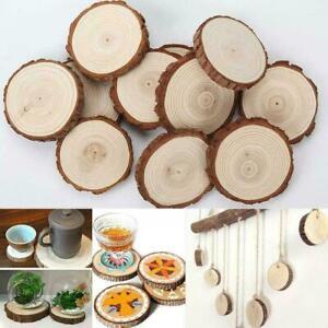1 x Natural Round Wood Disc Slices Circle Shape Rustic DIY Hobbies Wedding H4T8