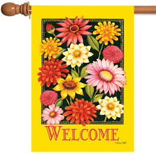 Toland Yellow Welcome Bouquet 28 x 40 Bright Flower Double Sided House Flag