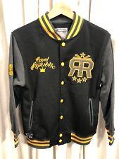 Royal Republic Varsity Sweatshirt Jacket. Boys Large. (14/16) Black Grey Yellow