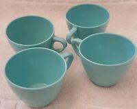 4 Vintage MCM  Melmac Melamine Royalon Coffee Cups Turquoise 304-23 Retro