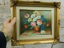 VINTAGE old PAINTING oil Floral flowers signed