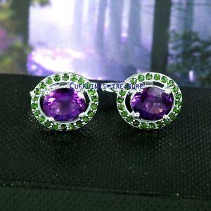 Natural Amethyst & tsavorite Garnet Gemstones with 925 Sterling Silver Cufflinks