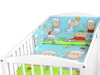 BABY 6PC BEDDING SET PILLOW DUVET BUMPER FIT COT 120x60cm Sheep Turquoise