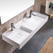 "DOWELL 48"" x 18 ACRYLIC DOUBLE WALL-MOUNT MODERN SINK IN WHITE"
