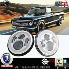 "7"" LED Halo Angel Eye Chrome Headlight Fit Chevrolet G10 G20 G30 K10 K20 Pickup"