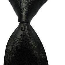 US New Classic Paisley Silver Gray JACQUARD WOVEN 100% Silk Men's Tie Necktie