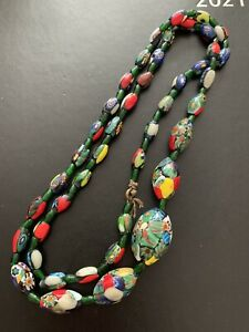 Superb Antique / Vintage Set Of Millefiori Glass Beads