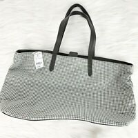 Brooks Brothers Women's Medium Gray Houndstooth Print Tote Shoulder Bag New