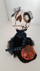 Ooak handmade Skellington gothic paper clay art doll Pumpkin Doll wierd strange