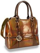 Iridescent Honeycomb Embossed Patent Fashion Handbag Julia and Michael