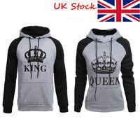 Couple King Queen Hoodie Matching Sweatshirt Jumper Sweater Pullover Uig lskn