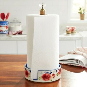 """Pioneer Woman Floral Stoneware Paper Towel Holder Heritage Floral 13.7""""H *New*"""