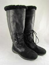 Spyder Leather Shearling Wool Winter Snow Boots Black Womens US 6.5 EU 37 Italy