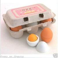 6pcs Set Wooden Eggs Yolk Pretend Play Kitchen Food Cooking Kid Toy Child Gift