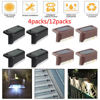 4/12X LED Solar Power LED Deck Lights Outdoor Path Garden Stair Step Fence Lamps